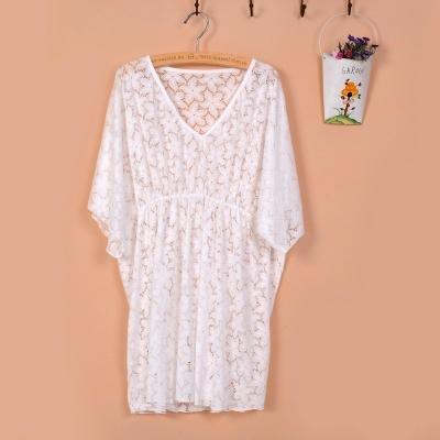 &qq Mantón femenino del protector solar, ropa de la playa, blusa del bikiní del traje de baño, camisa del aire acondicionado mantón , one size , white White