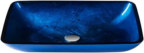 Irruption Blue Rectangular Glass Vessel Bathroom Sink with PU Chrome Kraus GVR-204-RE-CH