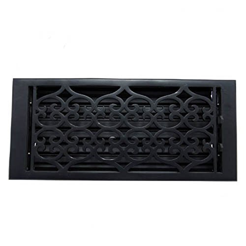 (Adonai Hardware Flower Cast Iron Wall and Floor Register with Louver - 6