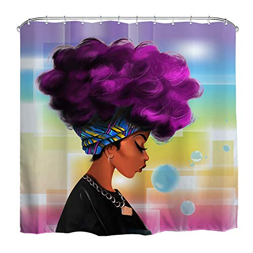 QiyI African Purple Hair Girl Shower Curtain American Art Afro Black Women Watercolor Design Bathroom Accessories Waterproof & Machine Washable with 12 Hooks 72