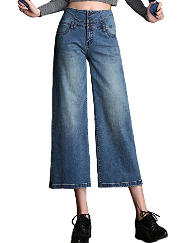 (PHOENISING Women's Fashion Cropped Length Jeans Summer Denim Wear Wide Leg Style Cropped Pants,Size 2-16 )