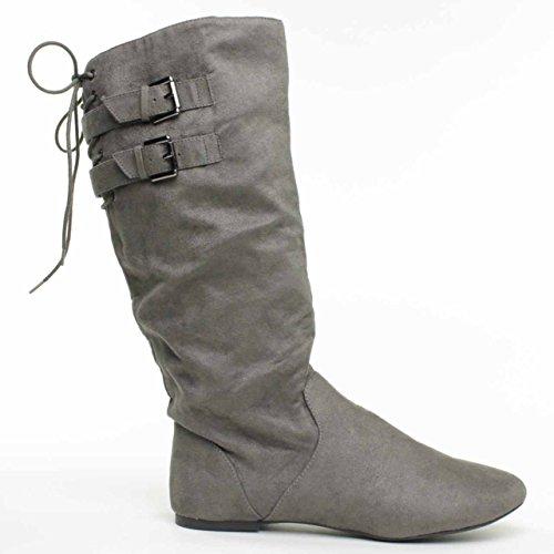 Nuovo Materiale Ragazza Bonita Ladies Stivali Alti Stivali Grigio 7,5 M