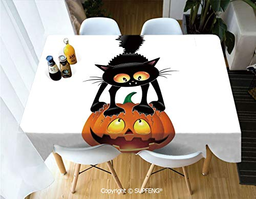 Picnic Tablecloth Black Cat on Pumpkin Spooky Cartoon Characters Halloween Humor Art (60 X 84 inch) Great for Buffet Table, Parties, Holiday Dinner, Wedding & More.Desktop Decoration.Polyester -