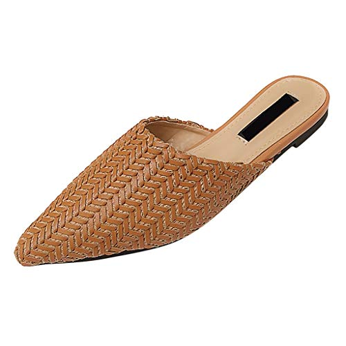 Nadition 2019 New Clog Sandals  Women Flat Bottom Weave Slippers Hollow Breathable Pointed Toe Party Single Shoes Brown