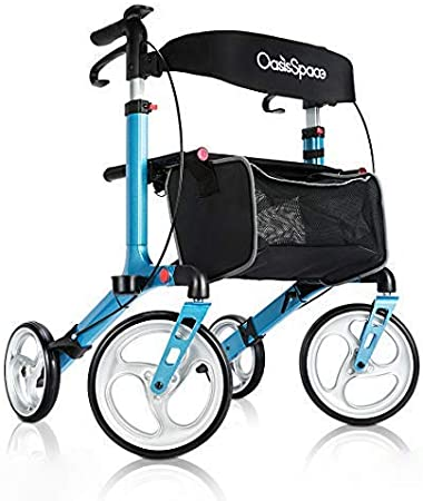 OasisSpace Aluminum Rollator Walker, with 10 Wheels and Seat Compact Folding Design Lightweight Baking Complimentary Carry Bag (Blue)