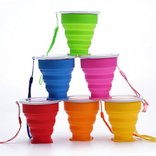 Ireav 6PCS 200mL Vogue Outdoor Travel Silicone Retractable Folding tumblerful Telescopic Collapsible Folding Water Cup