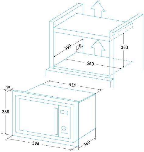 Edesa EMW-2530-IG XWH Intégré - Micro-ondes (Intégré, Micro-ondes grill, 25 L, 900 W, Rotatif, Tactil, Blanc)
