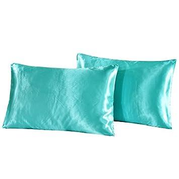 Niobomo Betten Luxus Seidig Kopfkissen Kissen Cover 2er Pack Kissenschoner Hotel Style Glatter Bezug