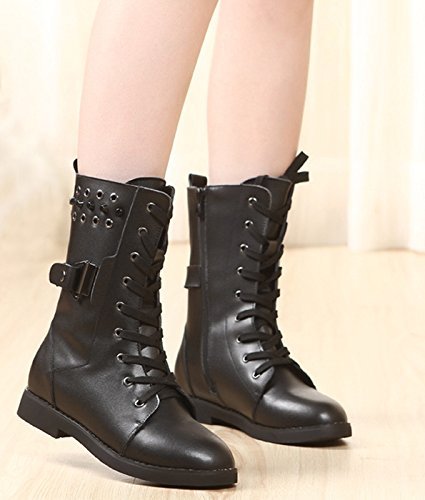 No.66 TOWN Womens Cow Leather Martin Boots Size 6 Black