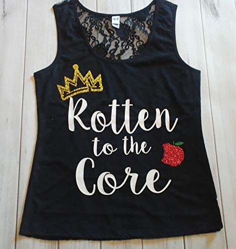 Womens Descendants Glitter Sparkle Rotten to the Core Crown Apple Birthday Black Lace back Tank Top Small Medium Large XL 2XL ()