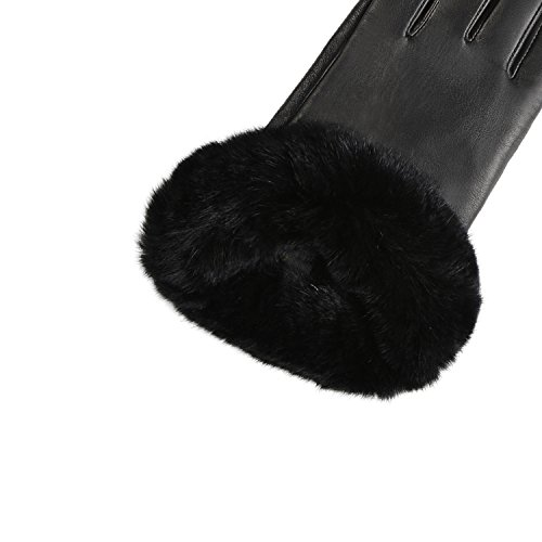 GSG Womens Hi-tech Touchscreen Italian Nappa Leather Driving Gloves Ladies Genuine Rex Rabbit Fur Gloves M Black-HI by GSG (Image #4)