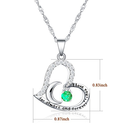 Dancing Birthstone Birthstone Jewelry I Love You For Always and Forever Emerald Pendant Necklace Birthstone Necklace (05-May-Emerald) by Anna Crystal Jewelry (Image #4)