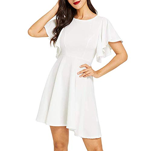 Party Dresses for Women Sexy Elegant,Women Casual Stretchy A Line Swing Flared Skater Cocktail Beach Party Dress, White