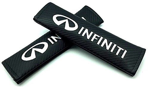 (Car Accessory Warehouse Infiniti Logo Emblem 3D Gloss Black Soft Carbon Fiber CF Gloss Finish Carbon Weave Exclusive Product Seat Belt Shoulder Pad Seatbelt Pads)