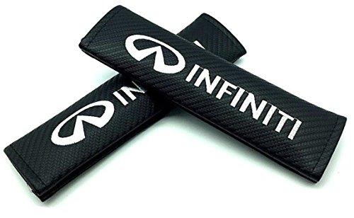 INFINITI Logo Emblem 3D Black Soft Carbon Fiber CF Gloss Finish Carbon Weave (Car Accessory Warehouse Exclusive Product) Seat Belt Shoulder Pad Seatbelt Pads