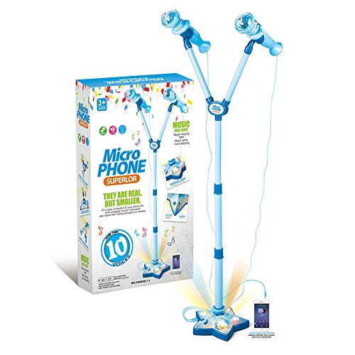 - OceanEC Kids Karaoke Machine, Kids Karaoke Music Toy Play Set with 2 Microphones and Adjustable Stand, Connect to Your Electronic Devices for Music (2 Mics Blue)