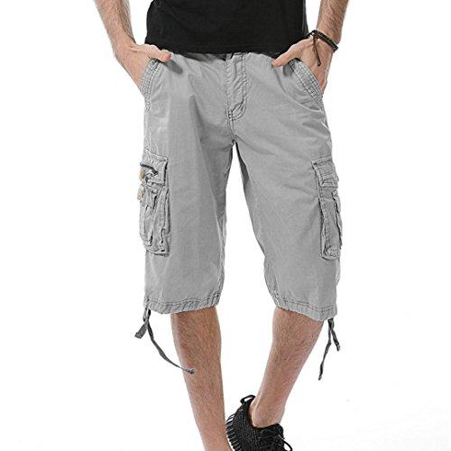 PASATO Men's Casual Pure Color Outdoors Pocket Beach Work Trouser Cargo Shorts Pant(Gray, 38)