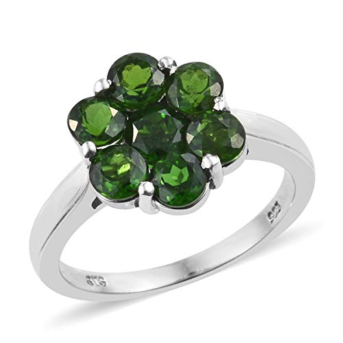 925 Sterling Silver Platinum Plated Round Chrome Diopside Flower Ring Size 5 Cttw 2.4
