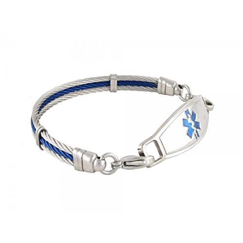 "N Style ID PRE-ENGRAVED ""Penicillin Allergy"" The Bay Medical Alert Bracelet - Blue 6.75 by N-Style ID"
