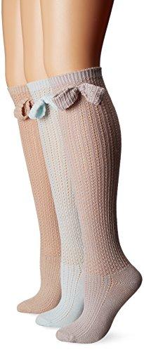 Muk Luks Womens 3 Pair Pack Pointelle Bow Knee High Socks