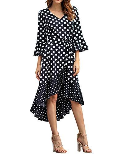 (AUDATE Women's Flared Sleeves Polka Dot Print Dress Sexy V Neck High Low Hem Midi Dress Black XL)