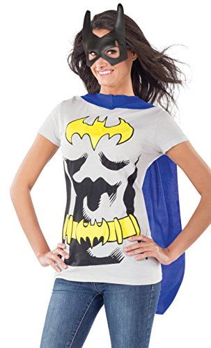 DC Comics Batgirl T-Shirt With Cape And Mask, Black, X-Large (Super Heroes Woman)