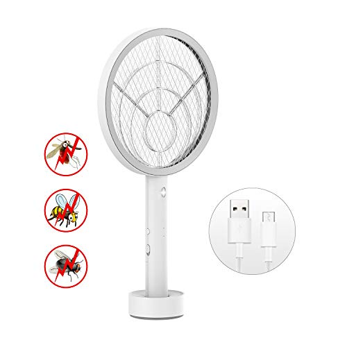 Electric Large Bug Zapper Racket, Mosquito killer, Fruit Fly Swatter Zap, Pest Control, 3,000 Volt, USB Rechargeable, LED Lighting, Unique 3 Layer Safety Mesh Safe to Touch