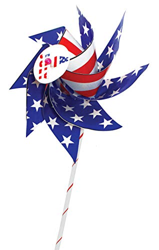 VHALE 12 Set of DIY Patriotic Paper Windmill Pinwheels Spinner (American Flag, Independence Day, 4th of July, Memorial Day Decoration) Hands-On Creative Arts & Crafts Activities for Kids of All Ages