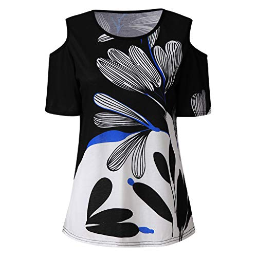 Smdoxi Summer Fashion Women's Sexy Off-Shoulder Short Sleeve Floral Print Casual T-Shirt Top Black ()