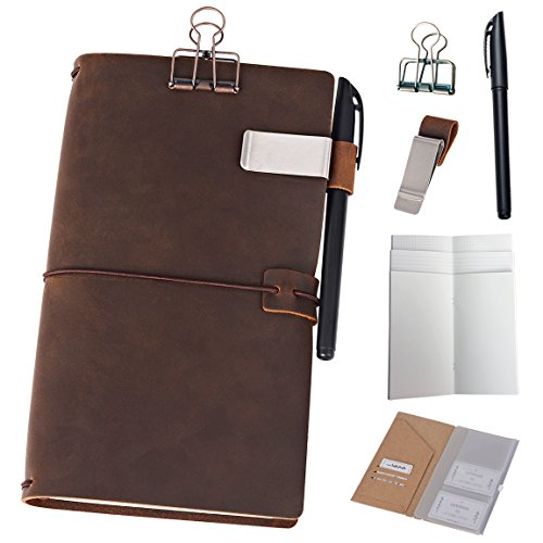 (Refillable Leather Journal Travelers Notebook - 8.5 x 4.5 Travel Diary with 5 Inserts + Pen Holder and Binder Clip, Standard Size, Brown)