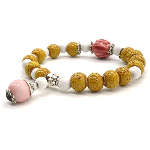 Bracelet Traditionnel en Céramique Faite Main Art Stone Beads