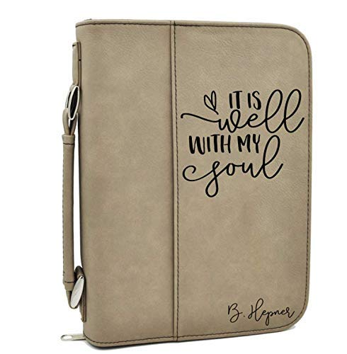 Custom Bible Cover | It is Well with My Soul |Personalized Bible Cover (Tan)