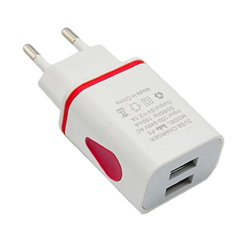 Price comparison product image Mchoice LED USB 2 Port Wall Home Travel AC Charger Adapter for S7 EU Plug (Red)