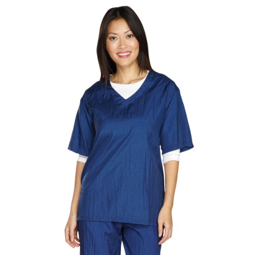 Top Performance V-Neck Grooming Smocks - Comfortable Pull-Over Nylon Tops for Professional Pet Groomers - Large, Navy