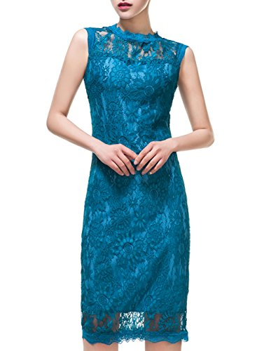Women's Vintage Floral Lace Party Cocktail Evening Dresses, Blue, Medium