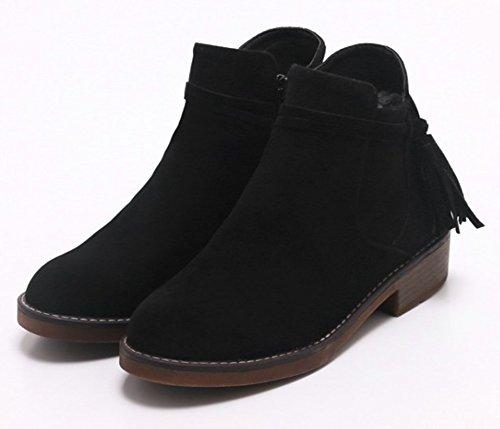 Aisun Womens Fashion Komfort Kantad Inuti Zip Upp Tossor Rund Tå Chunky Låg Klack Boots Med Dragkedja Svart