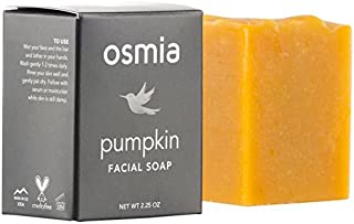 product image for Osmia Pumpkin Exfoliating Facial Soap - Gentle Cleansing Face Wash Bar - Organic Pumpkin, Tomato, Honey & Essential Oils of Carrot, Rosewood & Geranium - For Combination, Mature & Dry Skin (2.25 oz.)