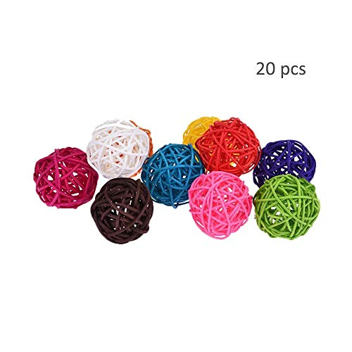 (TangTanger 20 pcs Small Twig Grapevine Balls Wedding Party Christmas Decorative (Diameter 3/4/5 cm, Assorted Color) (4 cm))