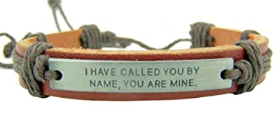 Metal I Have Called You By Name Plate on Adjustable Leather and Cord Bracelet, 8 Inch from Autom