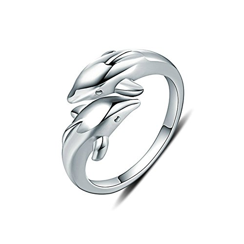 NDG Women's Adjustable Dolphin Ring Silver Double Dolphin Design Opening Adjustable Ring ()