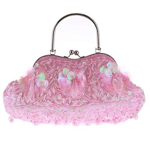 Bolso Color Hecho Tamaño Tradicional 3cm de de Las La Bolso Pink 14 Mano Cuentas Mano 24 la a Bolso de Vendimia Exquisito Plata de Mujeres OwTqYqF
