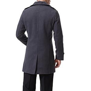 Men's Trenchcoat Double Breasted Overcoat Pea Coat Classic Wool Blend Slim Fit