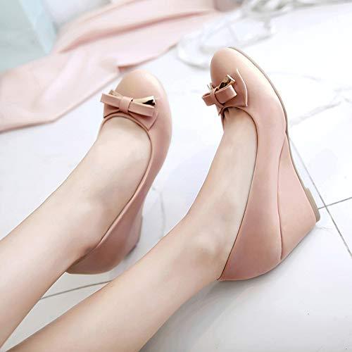 Alto Con Tacón Mujer Moda Beige Cm Individuales De 4 Zapatos Baja Yukun White Otoño Boca Pequeños Eq8wtc