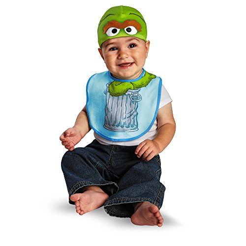 Costume Infant Halloween Grouch Oscar The (Disguise Costumes Drool Over Me Sesame Street Oscar Infant Bib and Hat  Accessory, Green/Blue, 6-12)