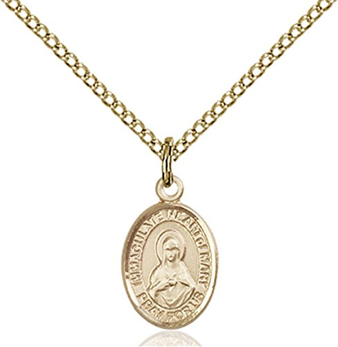 Patron Saints by Bliss 14K Gold Filled Immaculate Heart of Mary Petite Charm Medal, 1/2 Inch