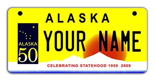 BleuReign(TM) Personalized Custom Name Alaska State Motorcycle Moped Golf Cart License Plate Auto (Costumes Anchorage)