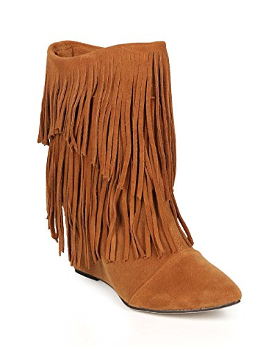 Liliana Women Suede Fringe Pointy Toe Calf High Wedge Boot CI38 - Tan Faux Suede (Size: 5.5)