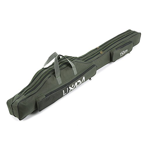 Lixada Portable Canvas Fishing Rod Carrier Fishing Pole and Reel Organizer Bag Fishing Gear Carry Case Rod & Reel Storage Bag 100cm/130cm/150cm