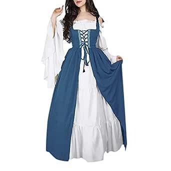 LGHOVRS Vestido Vintage Mujer Medievales Disfraz Renacentista Cosplay de Halloween