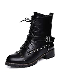DoraTasia Women 's Round Toe Lace up Rivet Ankle Boots Buckle Ankle Cuff Low Heel Punk Boots